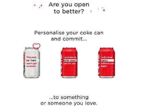 Coca-Cola Uk: nuovo pack in edizione limitata per la campagna 'Open to better'