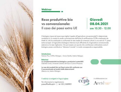 Rese produttive bio vs convenzionale: il caso dei paesi extra Ue nel webinar di Ccpb