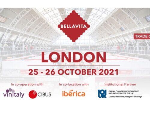 Bellavita Expo Londra si terrà il 25-26 ottobre 2021, in collaborazione con Cibus e Vinitaly