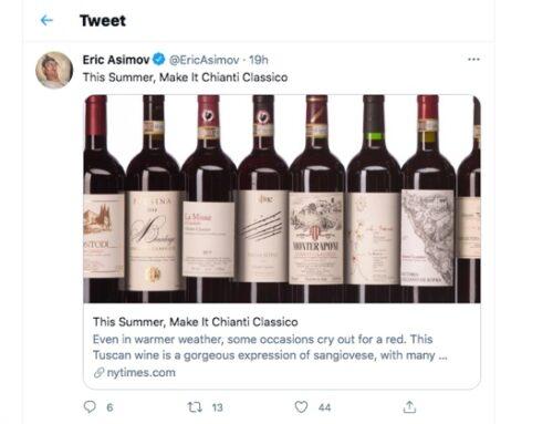L'omaggio di Eric Asimov, wine critic del New York Times, al Chianti Classico